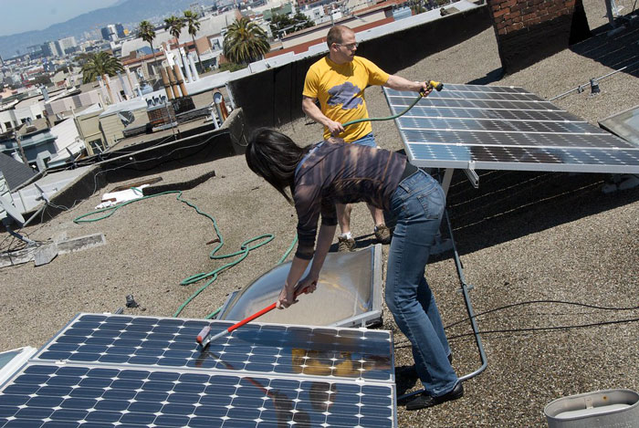 Clean Solar Panels on the Roof
